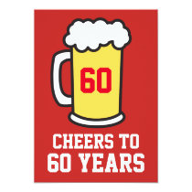 Cheers To 60 Years Beer 60th Party Invitation