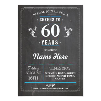 Cheers to 60 Years Birthday Invitation 40th 50th