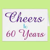 Cheers to 60 Years Purple Blue Pink Personalize Card