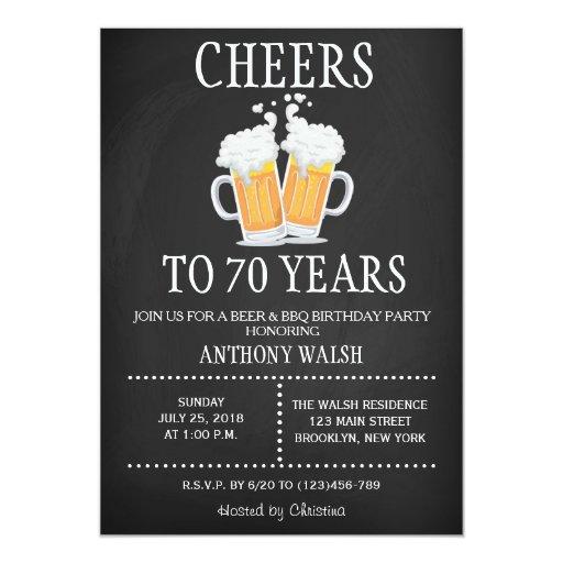 Cheers To 70 Years Birthday Chalk BBQ Invitation