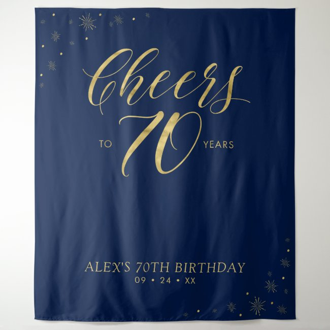 Cheers to 70 years | Gold & Blue Birthday Party Tapestry
