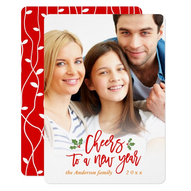 Cheers to A New Year Holiday Blessing Family Photo Card