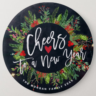 Cheers to a New Year Script Holly Wreath Greeting Pinback Button