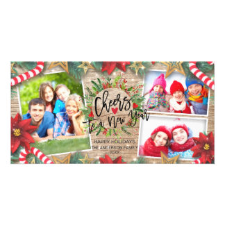 Cheers to a New Year Script Wreath Greeting Photo Card