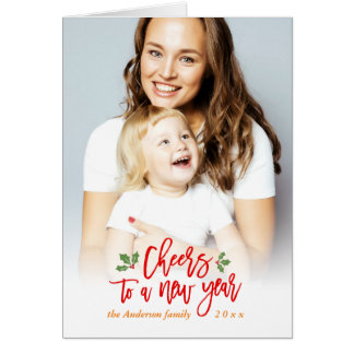 Cheers to A New Year Wishes Mother Kids Photo Card