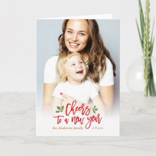 cheers to a new year wishes mother kids photo holiday card