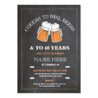Cheers to BBQ, Beers Birthday Party Chalk Invite