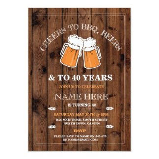Cheers to BBQ, Beers Birthday Party Invitation