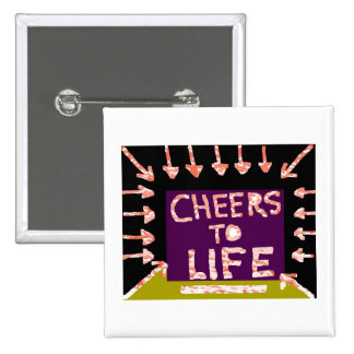 Cheers to Life -  Artist crafted Motifs 2 Inch Square Button