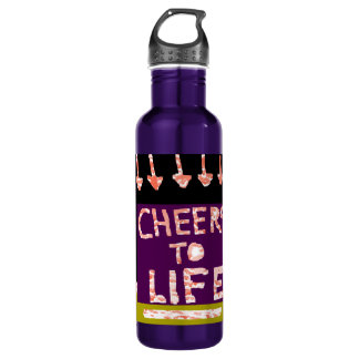 Cheers to Life -  Artist crafted Motifs 24oz Water Bottle