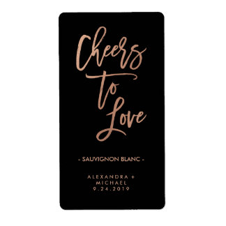 Cheers to Love | Faux Rose Gold Wedding Wine Label