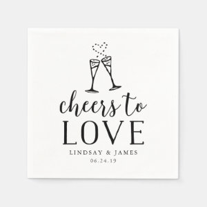 Cheers to Love Wedding Cocktail Paper Napkin