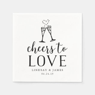 Cheers To Love Wedding Cocktail Paper Napkin at Zazzle