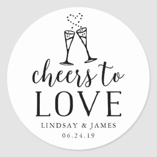 Cheers to Love Wedding Favor Classic Round Sticker