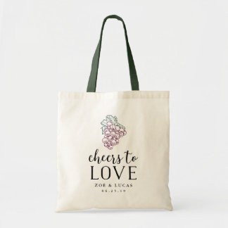 Cheers to Love Wine Country Wedding Favor Tote Bag