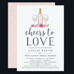 "Cheers to Love | Wine Tasting Bridal Shower Invite<br><div class=""desc"">Invite guests to shower the bride with our rustic elegant wine tasting bridal shower invitations, featuring a bottle of ros&#233;, a pair of wine glasses, and &quot;cheers to love&quot; in block and script typography. Add your bridal shower details beneath using the template fields provided, and personalize the wine bottle with...</div>"