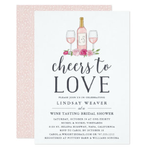 cheers to love wine tasting bridal shower invite