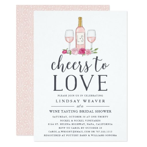 Cheers to Love Wine Tasting Bridal Shower Invite