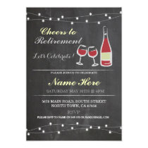 Cheers to Retirement Party Chalk red glass Invite