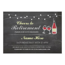 Cheers to Retirement Party Chalk red Invitation
