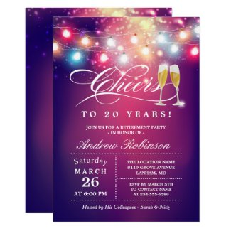 Cheers To Retirement Party Champagne String Lights Invitation
