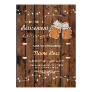 Cheers to Retirement Party Wood Beers Invite
