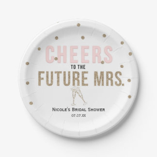 Cheers to the Future Mrs. Modern Bridal Shower Paper Plate