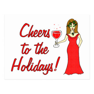 Cheers To The Holidays!  Sparkling Wine Goddess Postcard