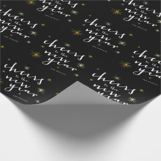 Cheers to the New Year Script Starburst Gift Wrap