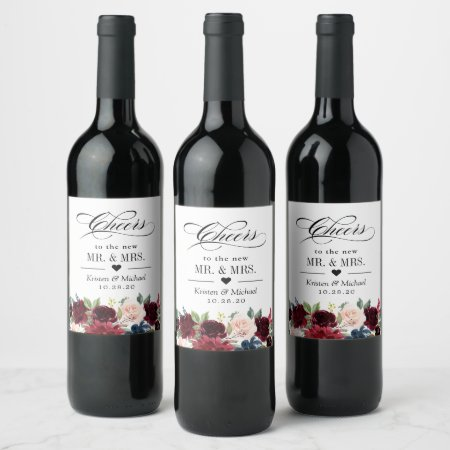 Cheers To the Wedding Burgundy Blush Blue Floral Wine Label