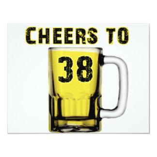 Cheers to Thirty Eight. Birthday 4.25x5.5 Paper Invitation Card