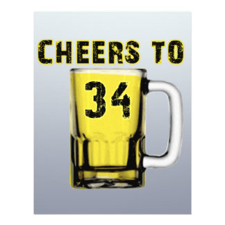 Cheers to Thirty Four. Birthday Full Color Flyer
