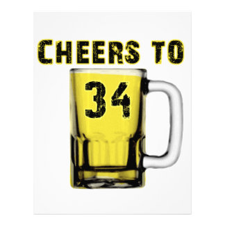 Cheers to Thirty Four. Birthday Letterhead Template