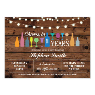 Cheers To Years Any Age Birthday Party Bar Invite