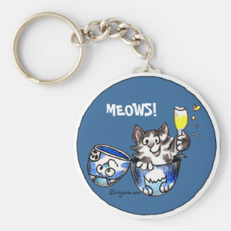 Cheers Toasting Kitty Cat Cartoon Cute Keychains