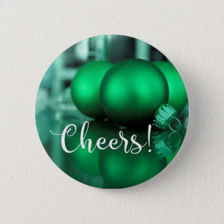 Cheers Typography Green Toned Ornaments Photo Button