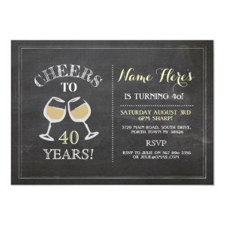 Cheers White Wine Birthday Drink Chalk Invite