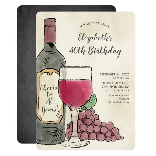 Cheers Wine Birthday Party invitation