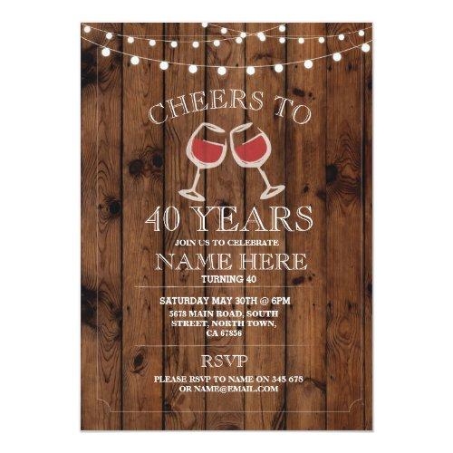 Cheers Wine Tasting Wood Birthday Party Invite