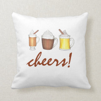 Cheers! Winter Drinks Christmas Egg Nog Rum Pillow