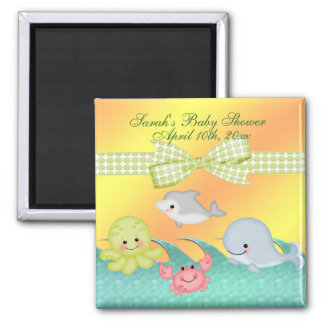 Cheery Baby Sea Creatures Baby Shower 2 Inch Square Magnet