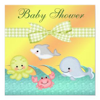 Cheery Baby Sea Creatures Baby Shower Card