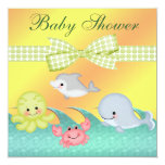 "Cheery Baby Sea Creatures Baby Shower 5.25"" Square Invitation Card"