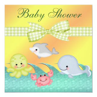Cheery Baby Sea Creatures Baby Shower 5.25x5.25 Square Paper Invitation Card