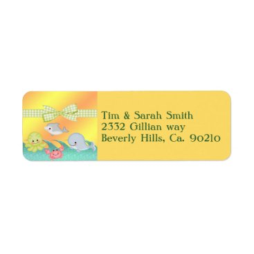 Toddler & Baby themed Cheery Baby Sea Creatures Baby Shower Label