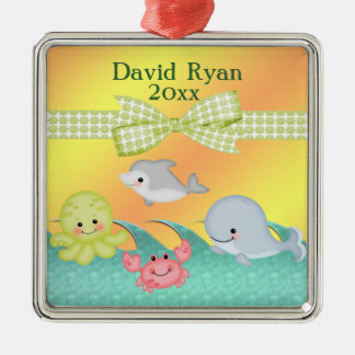 Cheery Baby Sea Creatures Baby Shower Christmas Tree Ornament