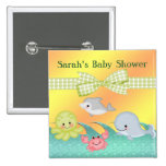 Cheery Baby Sea Creatures Baby Shower Pinback Button