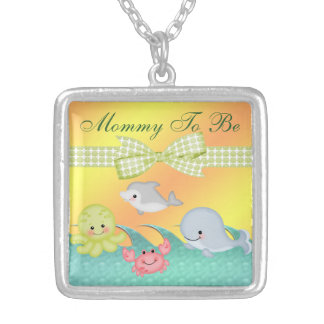 Cheery Baby Sea Creatures Baby Shower Silver Plated Necklace
