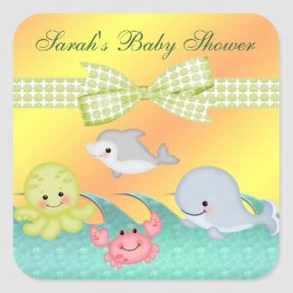 Cheery Baby Sea Creatures Baby Shower Square Sticker