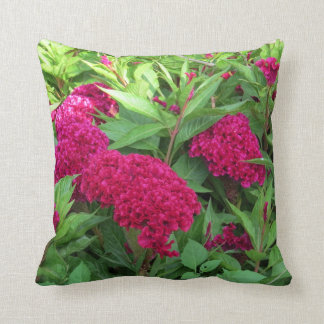 Cheery Bright Pink Flowery Throw Pillow